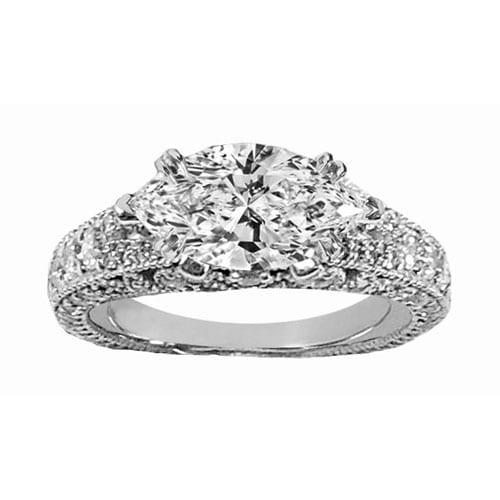 Custom Marquise & Pave' Diamond Engagement Ring